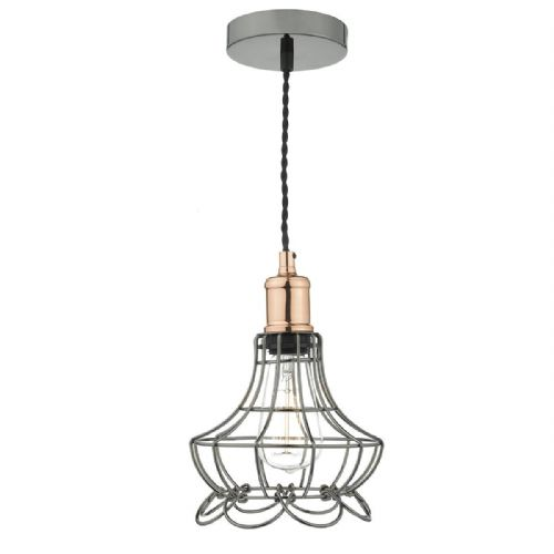 Ginny 1 Light Pendant Black Chrome/ Copper (Class 2 Double Insulated) BXGIN0167-17